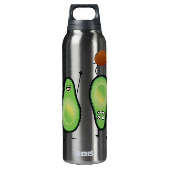 Avocado funny cheering handstand green pit insulated water bottle