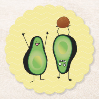 Avocado funny cheering handstand green pit paper coaster