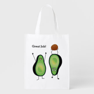 Avocado funny cheering handstand green pit reusable grocery bag