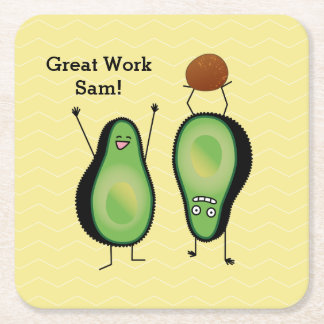 Avocado funny cheering handstand green pit square paper coaster