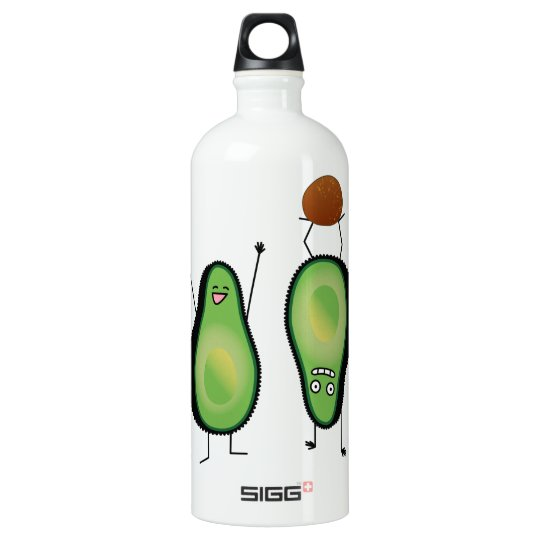Avocado funny cheering handstand green pit water bottle