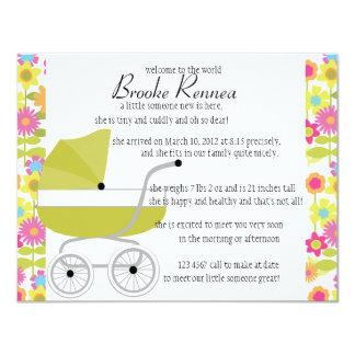 "Avocado Green Baby Buggy 4.25"" X 5.5"" Invitation Card"