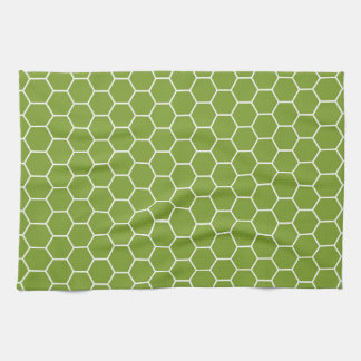 Avocado Green Honeycomb Hexagon Geometric Pattern Tea Towel