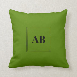 Avocado green monogram design throw pillow