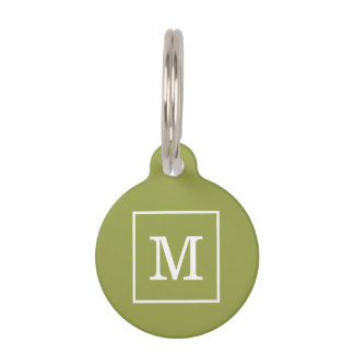 Avocado Green White Framed Initial Monogram Pet Tag