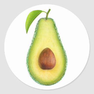 Avocado half classic round sticker