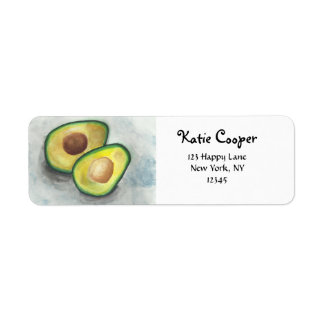 Avocado in Watercolor Return Address Label