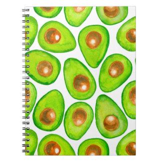 Avocado slices watercolor spiral notebook