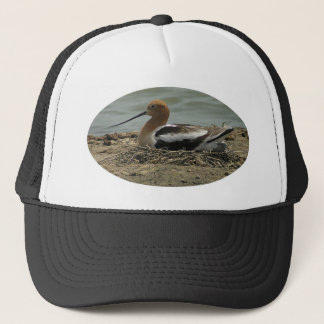 Avocet With Long Nose And Red Head Bedded In Nest Trucker Hat