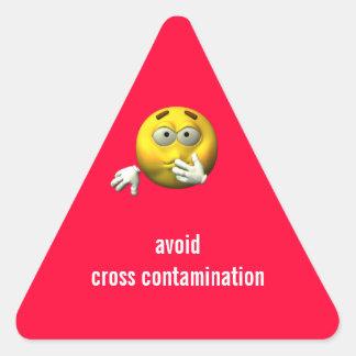 Avoid cross contamination triangle sticker