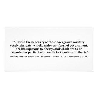 Avoid Overgrown Military Establishments Washington Customised Photo Card