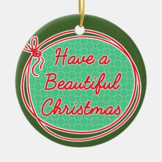 Avon Christmas, Have a beautiful Christmas, Green Ceramic Ornament