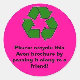 Avon:  Please recycle brochure Classic Round Sticker