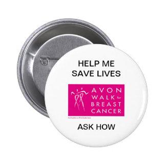 avon-walk-against-breast-cancer 6 cm round badge