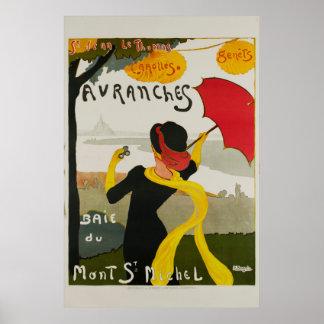Avranches Mont St Michel Vintage Travel Poster