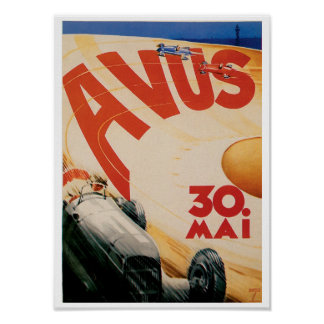 Avus Race Cars Automobile Vintage Ad Art Poster