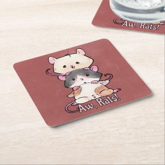 Aw, Rats! Square Paper Coaster
