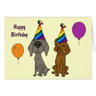 AW- Weimaraner and Pointer Birthday Card