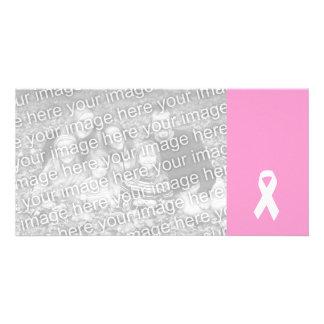 Awareness Ribbon on Pink Photo Card Template
