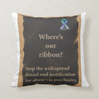 Awareness ribbon pillow to stop psychiatric abuse