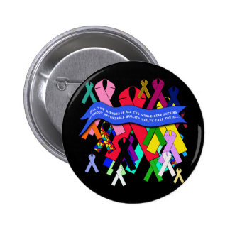 Awareness Ribbons for Universal Health Care Pinback Button