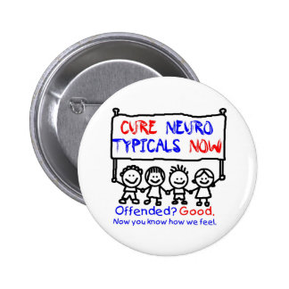 Awareness tee nerotypical 6 cm round badge