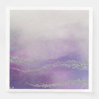 Awash Elegant Watercolor in Orchid Purple Wedding Disposable Napkin