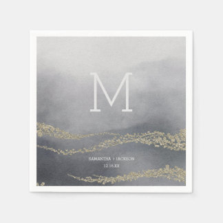 Awash Elegant Watercolor Smoke Wedding Monogram Paper Napkin