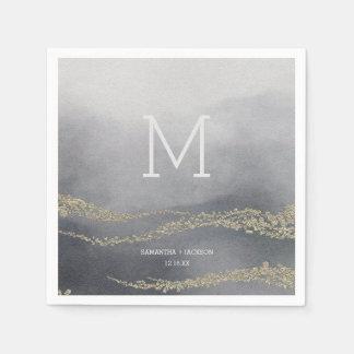 Awash Elegant Watercolor Smoke Wedding Monogram Paper Napkin
