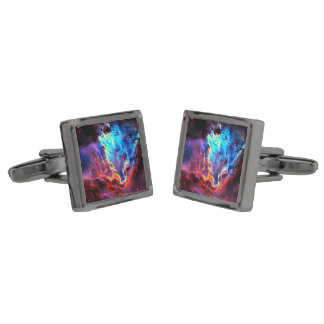 Awe-Inspiring Color Composite Star Nebula Gunmetal Finish Cufflinks