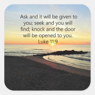 AWE-INSPIRING LUKE 11:9 SUNRISE PHOTO SQUARE STICKER