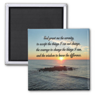 AWE INSPIRING SERENITY PRAYER DESIGN SQUARE MAGNET