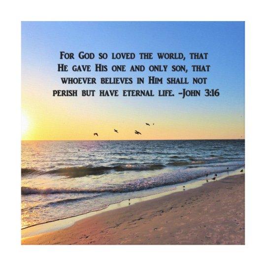 AWE INSPIRING SUNRISE JOHN 3:16 CANVAS PRINT