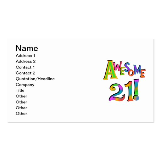 Awesome 21 Birthday T-shirts and Gifts Business Card Templates