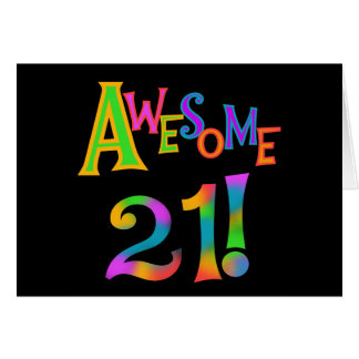 Awesome 21 Birthday T-shirts and Gifts Stationery Note Card