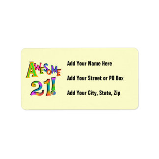 Awesome 21 Birthday T-shirts and Gifts Address Label