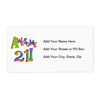 Awesome 21 Birthday T-shirts and Gifts Shipping Label