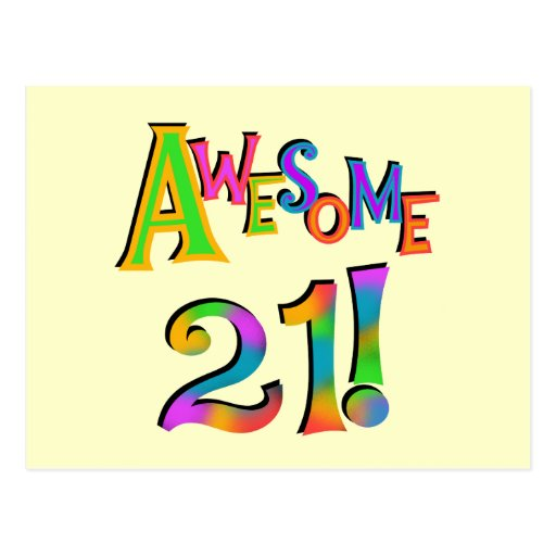 Awesome 21 Birthday T-shirts and Gifts Postcards