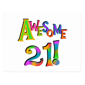 Awesome 21 Birthday T-shirts and Gifts Postcard