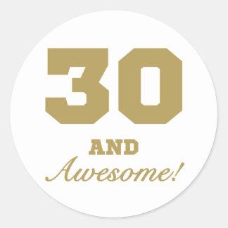 Awesome 30th Birthday Round Sticker