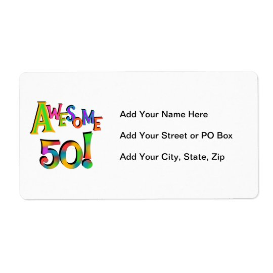 Awesome 50 Birthday T-shirts and Gifts Shipping Label