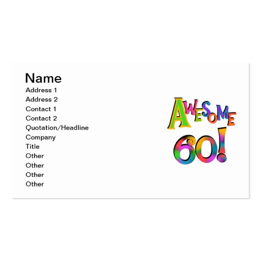 Awesome 60 Birthday T-shirts and Gifts Business Card Templates