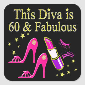 AWESOME 60TH BIRTHDAY DIVA DESIGN SQUARE STICKER