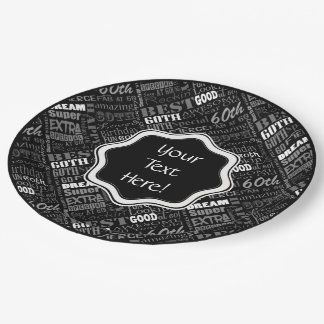 Awesome 60th Birthday Party Personalised Monogram Paper Plate