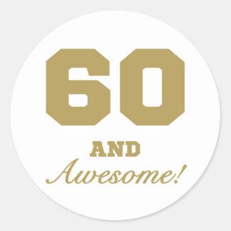 Awesome 60th Birthday Round Sticker