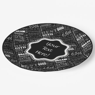 Awesome 65th Birthday Party Personalised Monogram Paper Plate