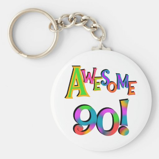 Awesome 90 Birthday T-shirts and Gifs Key Chains