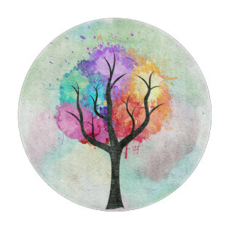 Awesome abstract pastel colours oil paint tree cutting board