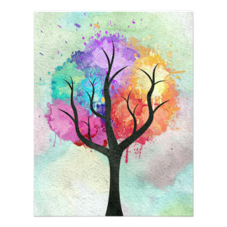 Awesome abstract pastel colours oil paint tree invites