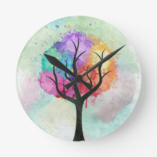 Awesome abstract pastel colours oil paint tree round clock